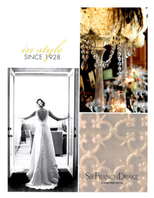Commercial Photography, Publications, Sir Francis Drake Hotel, Wedding Magazine, Auey Santos Photography