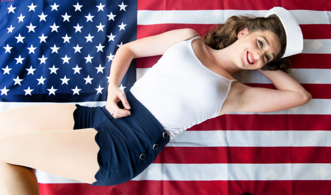 Real Beauty, Pinup Photography, Ashley, USO Show, American Flag, Sailor Girl, Auey Santos Photography