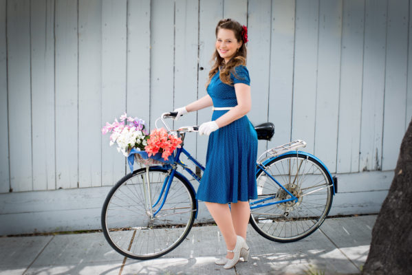 Real Beauty, Pinup Photography, Jessica, Vintage Bicycle, Girl Next Door, Auey Santos Photography